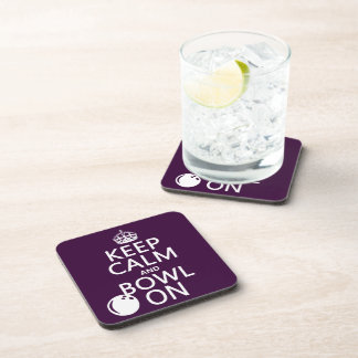 Keep Calm and Bowl On - all colours Drink Coasters