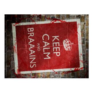 Keep Calm and Braainssss Postcard