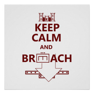 KEEP CALM AND BREACH W/RED LETTERING POSTER