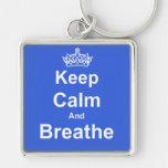 Keep Calm and Breathe Asthma Awareness Key Chain