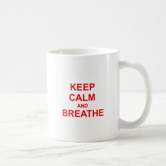 Keep Calm and Breathe red pink orange Classic White Coffee Mug