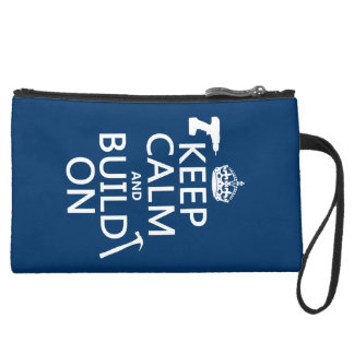 Keep Calm and Build On (any background color) Suede Wristlet Wallet