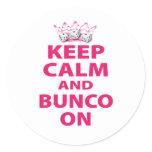 Keep Calm and Bunco On Design Classic Round Sticker