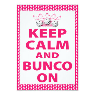 Keep Calm And Bunco On 5x7 Paper Invitation Card