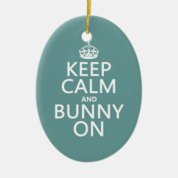 Keep Calm and Bunny On Oval Ornament