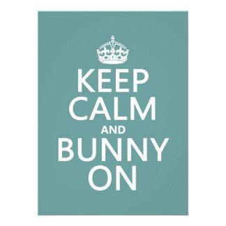 Keep Calm and Bunny On customisable Custom Announcements