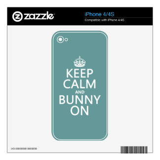 Keep Calm and Bunny On (customisable) iPhone 4S Skins