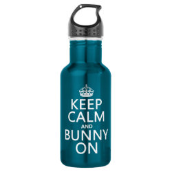 Water Bottle (24 oz) with Keep Calm and Bunny On design
