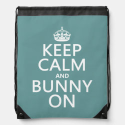 Drawstring Backpack with Keep Calm and Bunny On design