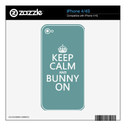 iPhone 4/4S Skin with Keep Calm and Bunny On design