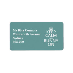 Address Label with Keep Calm and Bunny On design