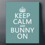 """Keep Calm and Bunny On Plaque<br><div class=""""desc"""">This is the classic Keep Calm poster reworded to Keep Calm and Bunny On. Perfect for all your bunny needs, and making a great range of presents for anyone who loves rabbits. You can change the background colour really easily, just press customize. Or, if you want to see the design...</div>"""