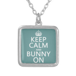 Small Necklace with Keep Calm and Bunny On design