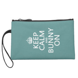Sueded Mini Clutch with Keep Calm and Bunny On design