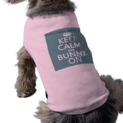Dog Ringer T-Shirt with Keep Calm and Bunny On design