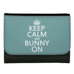 Medium Faux Leather Wallet with Keep Calm and Bunny On design