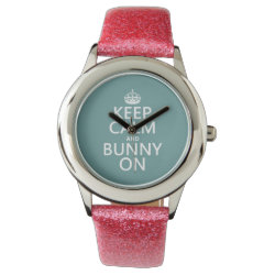 Keep Calm and Bunny On Kid's Pink Glitter Strap Watch