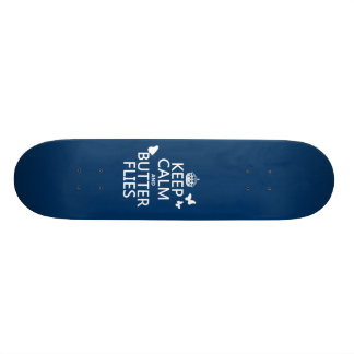 Keep Calm and Butterflies (any background color) Skateboard Deck