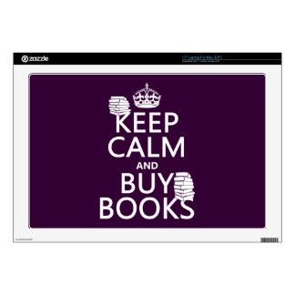 """Keep Calm and Buy Books (in any color) 17"""" Laptop Decals"""