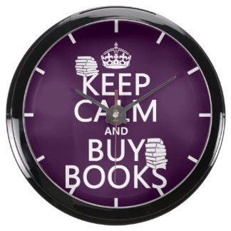 Keep Calm and Buy Books (in any color) Aqua Clock