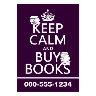 Keep Calm and Buy Books (in any color) Large Business Cards (Pack Of 100)