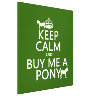 Keep Calm and Buy Me A Pony (in any color) Canvas Print