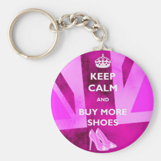 Keep Calm and Buy More Shoes Keyring Basic Round Button Keychain