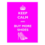 Keep Calm And Buy More Shoes Postcard
