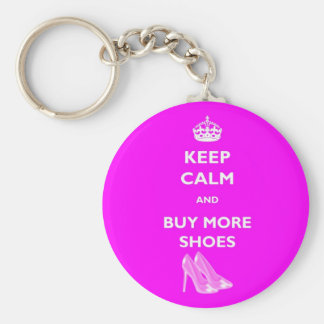 Keep Calm And Buy More Shoes Round Keyring Basic Round Button Keychain