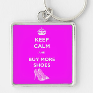 Keep Calm And Buy More Shoes Square Keyring Silver-Colored Square Keychain