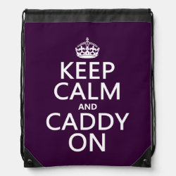 Drawstring Backpack with Keep Calm and Caddy On design