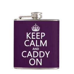 Vinyl Wrapped Flask, 6 oz. with Keep Calm and Caddy On design