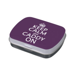 Rectangle Jelly Belly™ Candy Tin with Keep Calm and Caddy On design