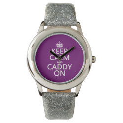 Kid's Silver Glitter Strap Watch with Keep Calm and Caddy On design
