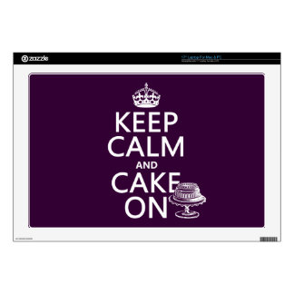 """Keep Calm and Cake On (customizable) Decals For 17"""" Laptops"""