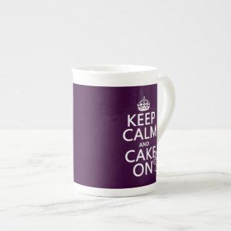 Keep Calm and Cake On (customizable) Tea Cup