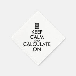Keep Calm and Calculate On Calculator Custom Standard Cocktail Napkin