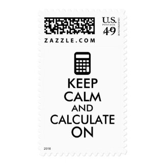 Keep Calm and Calculate On Calculator Custom Stamps