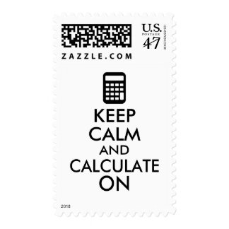 Keep Calm and Calculate On Calculator Custom Postage Stamp
