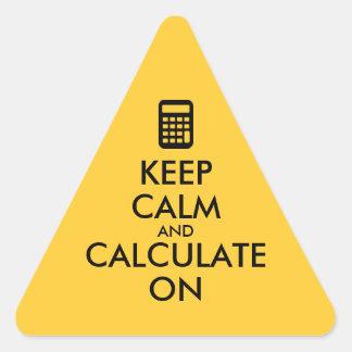 Keep Calm and Calculate On Calculator Custom Triangle Sticker