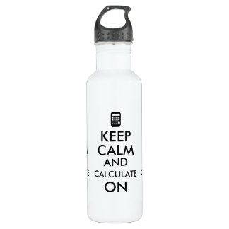 Keep Calm and Calculate On Calculator Custom Water Bottle