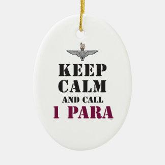 KEEP CALM AND CALL 1 PARA CERAMIC ORNAMENT