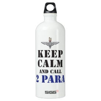 KEEP CALM AND CALL 2 PARA ALUMINUM WATER BOTTLE