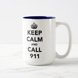 Keep Calm and Call 911 Two-Tone Coffee Mug