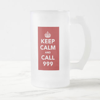 Keep Calm and Call 999 Frosted Glass Beer Mug