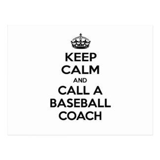 Keep Calm and Call a Baseball Coach Postcard