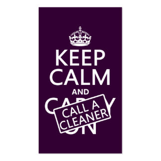 Keep Calm and Call A Cleaner Business Card