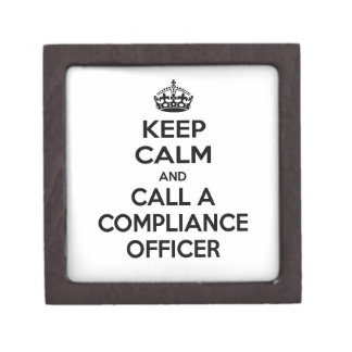 Keep Calm and Call a Compliance Officer Premium Jewelry Boxes