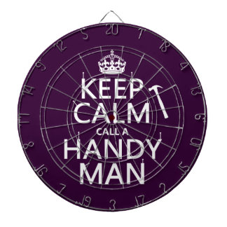 Keep Calm and Call A Handy Man (any color) Dartboard With Darts