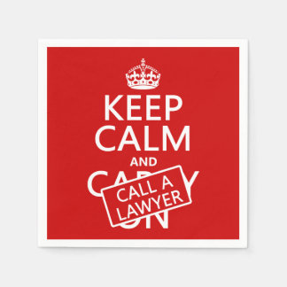 Keep Calm and Call A Lawyer (in any color) Standard Cocktail Napkin